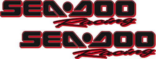 Sea-Doo Racing / PAIR / Black RED OUTLINE Vinyl Vehicle Personal Watercraft Graphics Decal ()