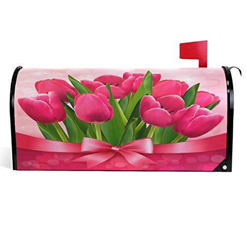 Wamika Mother's Day Mailbox Cover Tulip Flowers Floral Mailbox Covers Magnetic Mailbox Wraps Post Letter Box Cover Standard Size 18