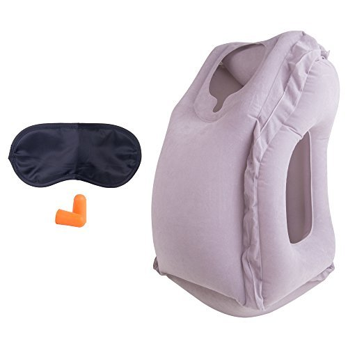 Soft Inflatable Travel Pillow Supporting Head Neck Top – BONUS Eye Mask Ear Plugs Small Carry Bag Lightweight Portable on cars airplane flight Comfortable Sleep Support for Men Women Kids Boys Girls