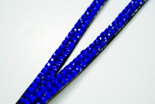Royal Blue Rhinestone Lanyard with ID Badge Holder & Keyring Attached