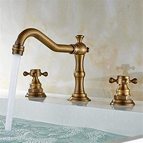 水タップ便利なヨーロッパアンティークスリーホール流域の蛇口銅セラミックバルブコアシート直径3.2cm以上バスルームホテルに最適実用的なキッチンバスルーム用品キッチンバスルーム用品