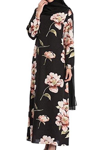 Muslim Long Print Sleeve Abaya Women Chiffon Floral Dresses Coolred Black pwgq1R6x4