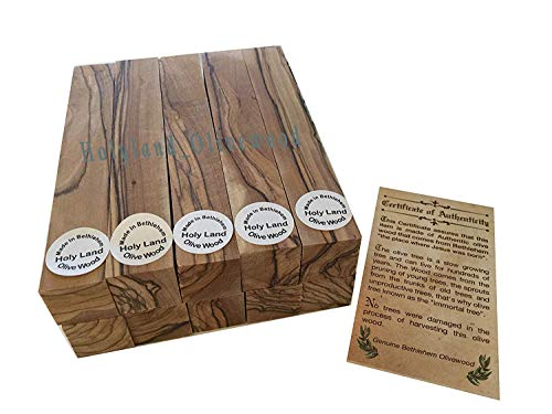 Bethlehem Olive Wood Pen Blanks with Certificates -10 -Authentic-Premium Quality -