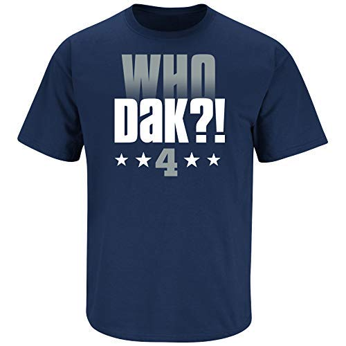 Dallas Football Fans. Who Dak?! Navy T-Shirt (Sm-5X) (Youth Short Sleeve, Medium)