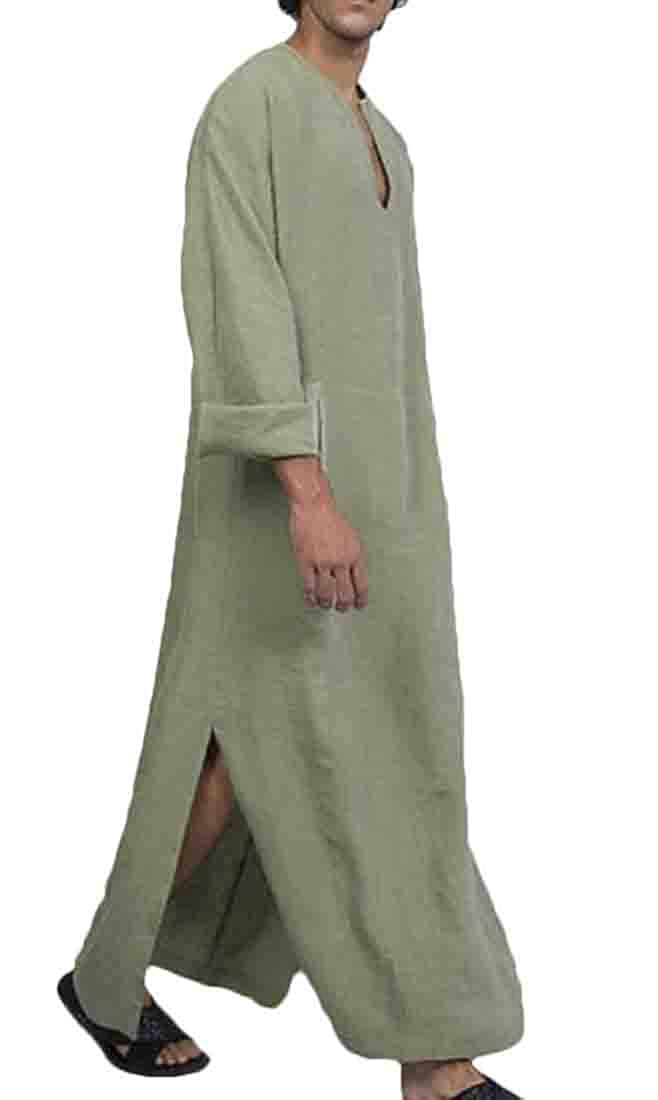 Hmarkt Mens Muslim Basic Pockets Long Sleeve Linen Islamic Long Shirts