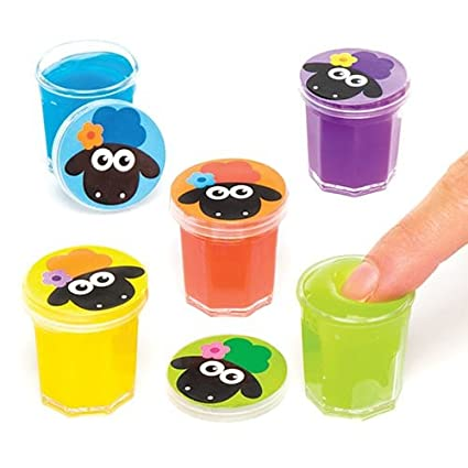 Baker Ross Fluffy Sheep Noise Putty (Pack of 6) Slime For Kids Party Bag  Fillers and Gift Ideas
