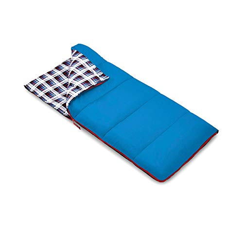 Outbound Kids Sleeping Bag   Compact and Lightweight Sleeping Bags for Girls and Boys   3 Season, Warm and Cold Weather   Perfect for Youth, Camping and Backpacking   Red & Blue (Blue) (Sleeping Bag Girl Cotton)