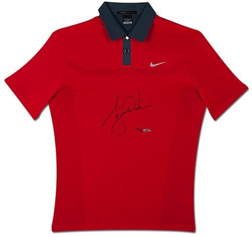 TIGER WOODS Hand Signed 2013 Sunday Red Jersey/Shirt UDA LE ()