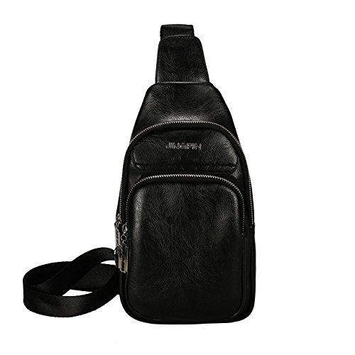 Hongrun Simple casual version coréenne de la tendance des étudiants et des étudiantes de la poitrine pack et polyvalent outdoor travel seul sac dépaule Sac en cuir sac paquet diagonale paquet