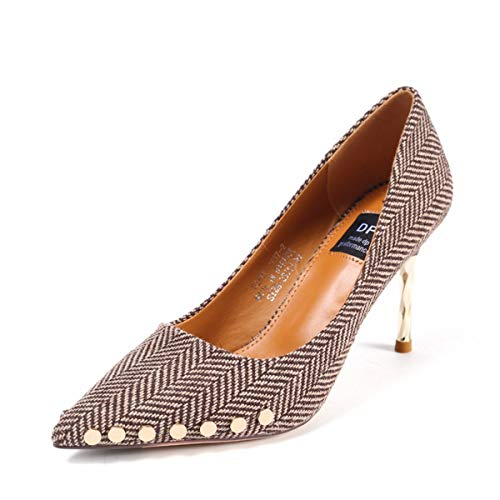 Spring Metal High Rivets Temperament Thin Striped Cloth Shoes Sexy Handsome 9Cm Shoes Women'S Single Heeled Heels KPHY Black OgIqFx1q