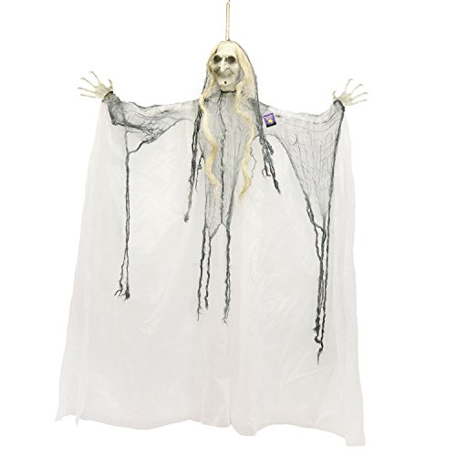 Halloween Haunters Hanging 4 Foot Scary White Face Ghost Witch Prop Decoration - Creepy Old Woman with Bendable Arms and Spindly Hands -Haunted House Graveyard Entryway Display -
