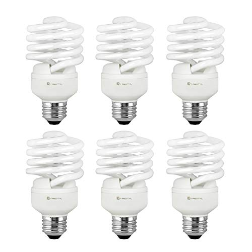 Compact Fluorescent Light Bulb T2 Spiral CFL, 5000k Daylight, 23W (100 Watt Equivalent), 1520 Lumens, E26 Medium Base, 120V, UL Listed (Pack of 6)
