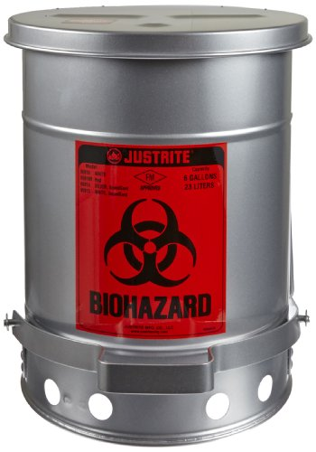 Justrite 05914 SoundGuard Steel Biohazard Waste Container with Foot Operated Cover, 6 Gallon Capacity, 11-7/8'' OD x 15-7/8'' Height, Silver by Justrite
