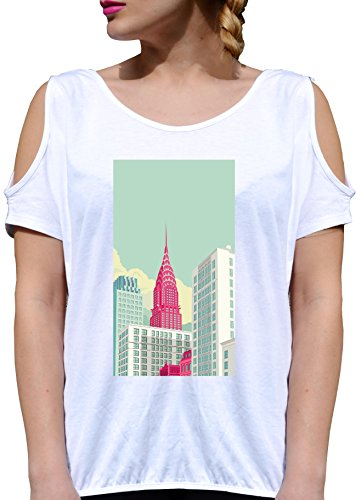 T SHIRT JODE GIRL GGG27 Z1635 NEW YORK SKYLINE CITY URBAN STYLE AMERICA FUN FASHION COOL BIANCA - WHITE XL
