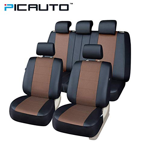 (PICAUTO Car Seat Covers Set for Auto, Truck, Van, SUV - PU Leather, Airbag Compatible, Universal Fit (Light Brown 9-Pieces))