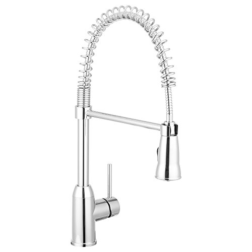 Rainier Pull Down Kitchen Faucet Gooseneck Style (Chrome) by Pacific Bay - This Beautiful Upgrade Features a Pull Out Sprayer, Single Lever, and a Spring Coil (Water Temperature Sensor Attachment)