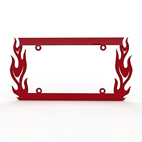 Ferreus Industries Vertical Flame Fire Red Powdercoat License Plate Frame Cover -