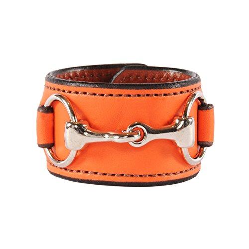 (Rebecca Ray Designs Equestrian Stainless Steel Horse Snaffle Bit Orange Leather Cuff Bracelet (Orange))