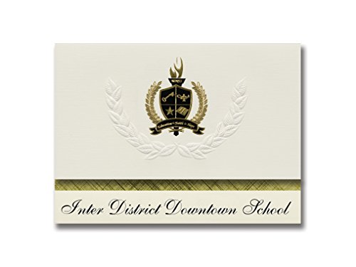 Signature Announcements Inter District Downtown School (Minneapolis, MN) Graduation Announcements, Presidential Basic Pack 25 with Gold & Black Metallic Foil - Mn Downtown