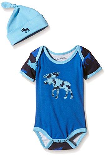 Price comparison product image Little Blue House by Hatley Baby Boys' Bodysuit and Cap,  Blue Moose,  3-6M