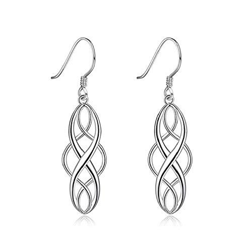 (Etroshare Earrings for Women Celtic Knot Dangle Earrings 925 Sterling Silver Polished Vintage Drop)
