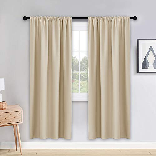 PONY DANCE Beige Curtains 72 - Window Coverings Privacy Protect Rod Pocket Top Solid Color Room Darkening Blackout Curtains Home Decoration for Bedroom, 42 Wide by 72 inch Drop, Beige, 2 PCs