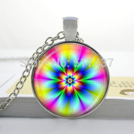Pretty Lee 2015 New Glass Dome Necklace Rainbow Flower Pendant Fashion Flower Jewelry For Women And Friends Glass Cabochon Necklace