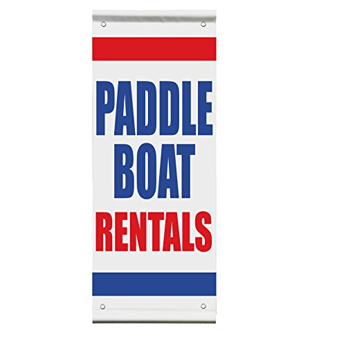 Paddle Boat Rentals Double Sided Vertical Pole Banner Sign 30 in x 60 in
