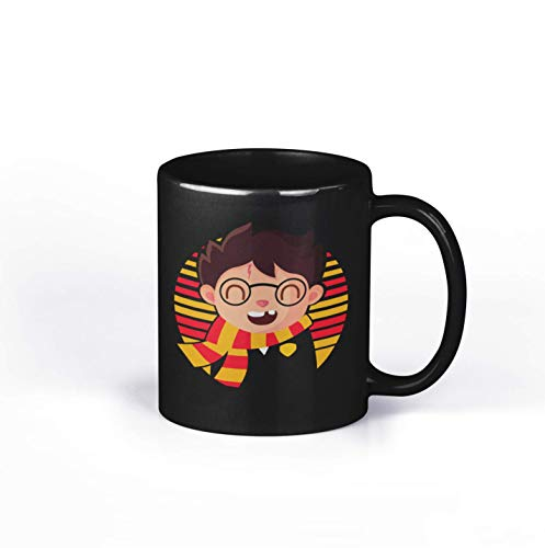 Chibi Halloween Witch Glasses Scarf Scar Lightning Bolt Vintage Retro 11Oz 15Oz Ceramic Coffee or Tea Black Mug