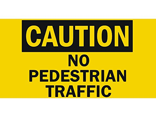 bn1659 Caution No Pedestrian Traffic Cars and People Walk Through Banner Sign (Sign Traffic Through)