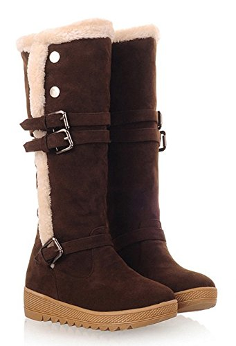 Aisun Womens Warm Comfy Belt Buckle Flat Knee High Snow Boots Coffee db8Ioj7