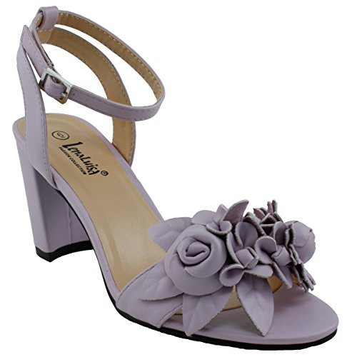 LenaLuisa Amber-27 Floral Block Heel Sandal, Lavender, (Lavender Leather Footwear)