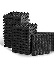 Sonic Acoustics - Paneles de espuma acústica, azulejos de cuña para estudio, de 5 x 30 x 30 cm, paneles de espuma para absorción de sonido, en forma de pirámide, paneles para el tratamiento de las paredes en el estudio (24 unidades, color negro)