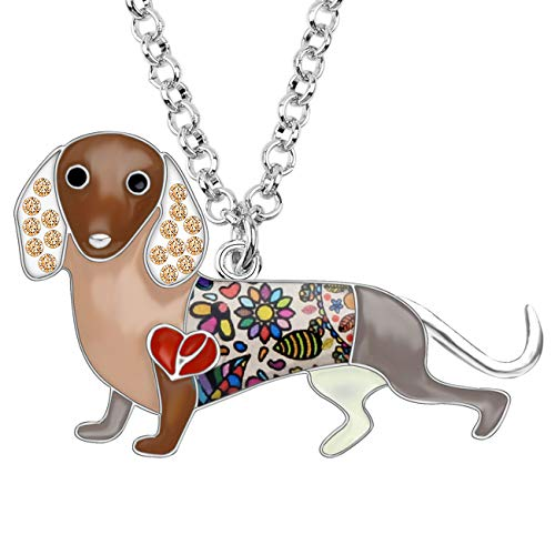 BONSNY Statement Enamel Rhinestone Chain Dachshund Dog Necklaces Pendant Original Design for Women Girls Jewelry ()