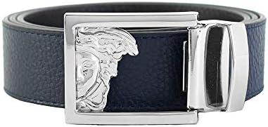 [해외]Versace Collection Men`s Medusa Steel Buckle Leather Belt Navy Blue / Versace Collection Men`s Medusa Steel Buckle Leather Belt Navy Blue
