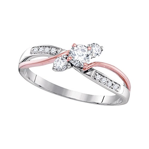 Womens 14K Gold Two Tone 3 Stone Past Present Future Diamond Bridal Promise Engagement Ring 3/8 CT (I1 clarity; G-H color)