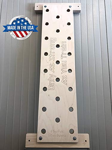 Plyobox Warehouse 12x48 Climbing Pegboard with Free Custom Engraving, Includes 18 mounting Brackets for Wall Studs.