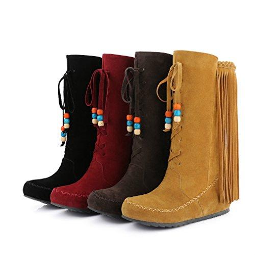 Mfairy Dames Mode Casual Mid-kalf Slip Op Verborgen Hak Laarzen Plus Size Katoenen Kwast Laarzen Bruin