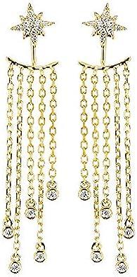 Pendientes Largos De Oro Blanco Con Esmeraldas Y Aretes De Diamantes Pendientes De Circonitas Dobles Creaciones Poéticas