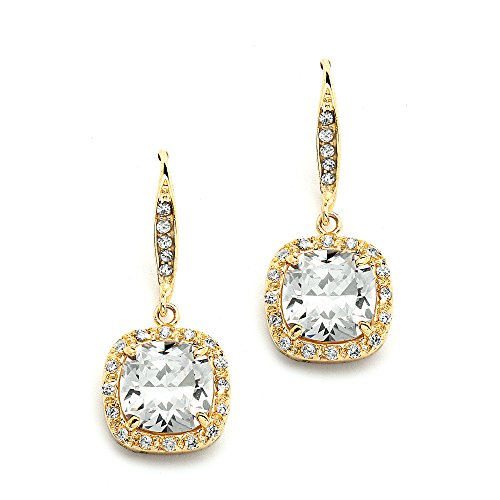Mariell 14K Gold Plated CZ Dangle Earrings with Cushion-Cut Halos - Great Wedding or Bridesmaid Drops