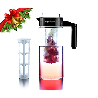 Premium 3-in-1 Infusion Pitcher-FREE Recipe eBook Included-Fruit Infuser for tasty flavoured water, Tea/Iced tea maker and Cold coffee brewer-Perfect for Detox, Weight Loss and Healthy Lifestyle