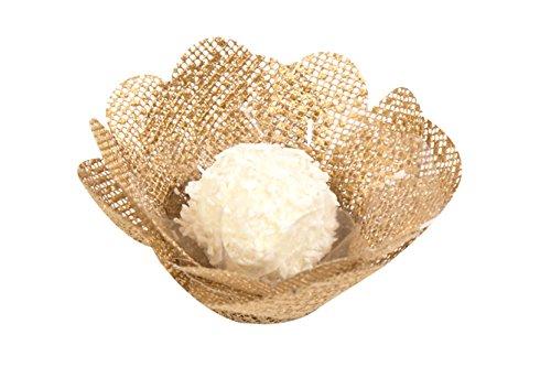 Mini Truffle Box - Wedding Chocolates Wrapper - Luxury Wedding - Handmade Fabric Truffle Cups, Truffle Liners, Truffle Wrappers - Pack of 20 - Truffilio (Gerbera Gold)