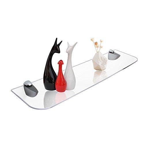 Display4top Floating Shelves Acrylic Glass Shelf Kit Satin Nickel 6x17 Inch, 2 PACK (Display Glass Shelf Kit)