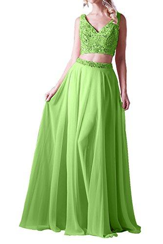 Gruen A Lang Zwei Formalkleider Sommerkleider mia Abendkleider Ballkleider La Apfel teilig Linie Festlichkleider Braut Chiffon qnH86T8Cz