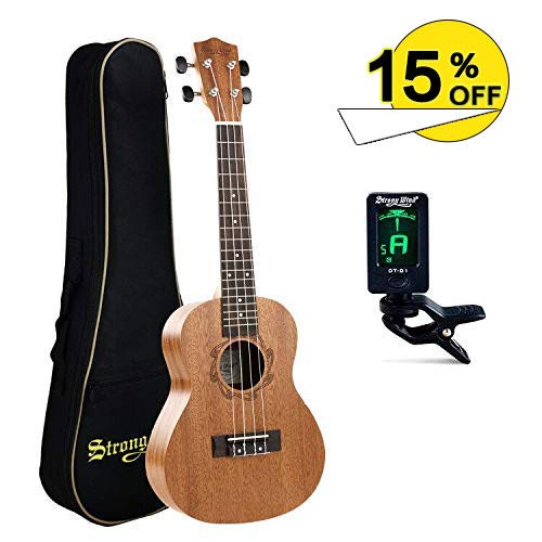 Concert Ukulele 23 Inch Mahogany Ukulele Starter Kit for Beginners with Gig Bag and Tuner for Kids Children Student - Wind Strong