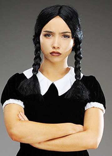 Delights Miércoles Addams Estilo gótico Negro Trenzado Peluca ...
