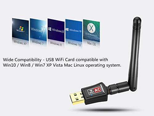OSGEAR USB WiFi Adapter 600Mbps Wireless Card Network Dongle Dual-Band 802.11ac/b/g/n 2.4GHz/150Mbps 5GHz/433Mbps Supports with High Gain 5dBi Antenna for Win10 8 7 XP for Desktop PC Vista Mac Linux
