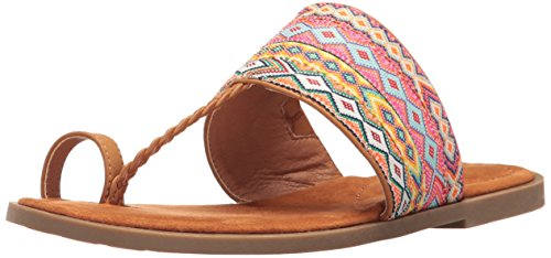 Rocket Dog Women's Adela Webster Fabric/Smooth PU Toe Ring Sandal, Tan Multi, 9.5 M US