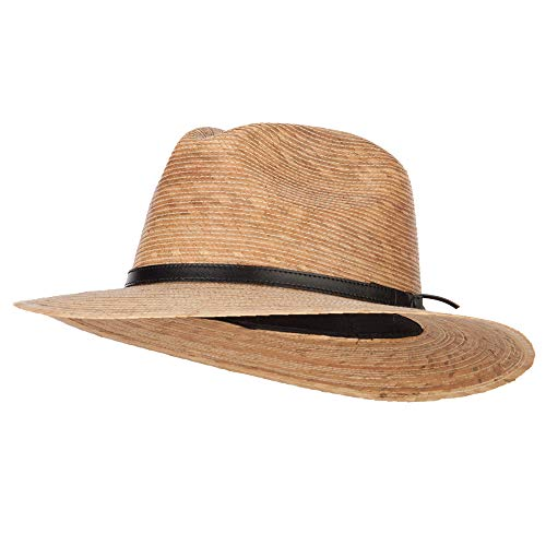 Men's Palm Braid Leather Band Fedora Hat - Dk Palm XL