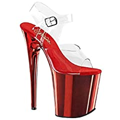 "Women's Clubwear, Super High Heel. Ankle Strap 8"" Platform Sandal. FLAMINGO-808 ---- 8"" (20.3cm) Stiletto Heel, 4"" (10.2cm) . Heel: measures approximately 8"" (20.3cm) . Platform: measures approximately 4"" (10.2cm) . Made in China. Please note..."